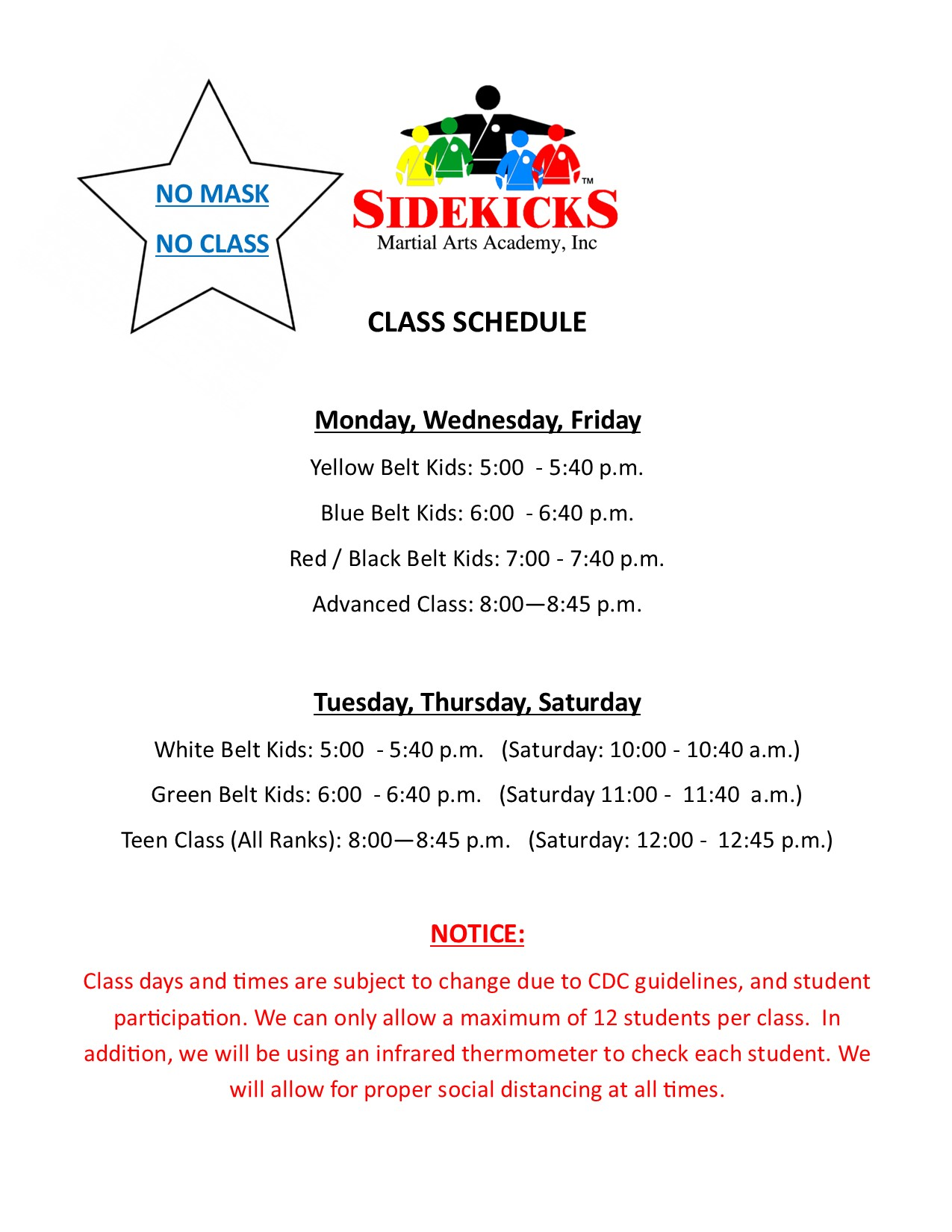Sidekicks Class Schedule July 2020